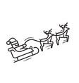 santa claus on sleigh with deers line icon vector image
