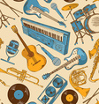 Seamless pattern of colorful musical instruments vector image