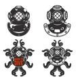 set of vintage diver helmets diver helmet with vector image vector image