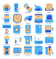 smart home appliances icon set in flat style vector image