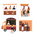 street food and store cart and truck bar counter vector image