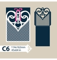 Template envelope with carved openwork heart vector image vector image