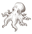 underwater animal octopus marine creature isolated vector image vector image