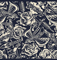 vintage monochrome tattoos seamless pattern vector image