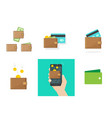 wallet set with credit bank card money vector image vector image