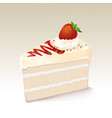 white chocolate cake with strawberry vector image