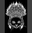 white silhouette head cat with indian hat vector image vector image