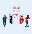 woman man near phone online dating app concept vector image vector image