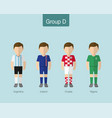 2018 soccer or football team uniform group d vector image vector image