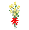 A Lovely Yellow Roses Bouquet with Red Ribbon vector image vector image