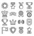 awards and trophy icons set line style vector image vector image