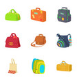 bag icons set cartoon style vector image vector image