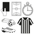 black and white flat referee elements set vector image vector image