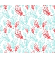Blue and pink feathers seamless pattern vector image vector image