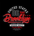 brooklyn sport typography usa style vector image vector image