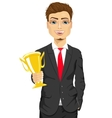 business man winner holding a gold cup trophy vector image vector image