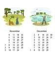 calendar 2018 november december vector image vector image