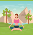 calm woman is doing yoga and meditation vector image vector image
