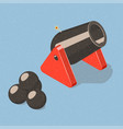 cannon and cannonballs vector image