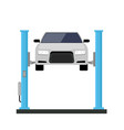 car repair lift service mechanic flat car lift vector image vector image