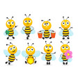 cartoon honey bee mascot collection vector image vector image