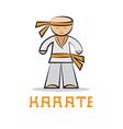 cartoon karate young man design vector image vector image