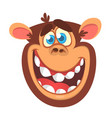 cartoon monkey head vector image vector image