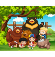 Children and wild bears together vector image vector image