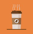 coffee cup icon with coffee beans on orange vector image