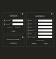 collection dark log in and register web screen vector image vector image