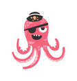 cute cartoon pink octopus character pirate with an vector image vector image