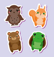 cute kawaii animals stickers set vector image vector image