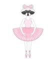 cute raccoon girl in dress like ballerina Hand vector image vector image