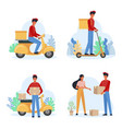 delivery service male courier flat vector image