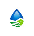 droplet water ecology house logo vector image vector image