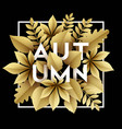 fall background design with golden paper cut vector image