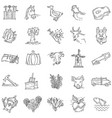 farming hand drawn icon set outline black doodle vector image