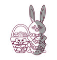 figure rabbit easter with eggs inside of hamper vector image vector image