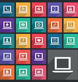 Flat laptop icons set vector image