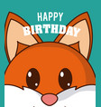 fox cute birthday card vector image vector image
