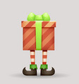 gift box christmas elf legs santa claus new year vector image vector image