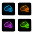 glowing neon cloud computing lock icon isolated vector image vector image