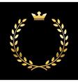 Gold laurel wreath with crown vector image vector image