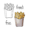 hand drawn french fries black and white and color vector image