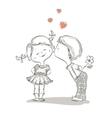 Hand drawn of kissing boy and girl vector image vector image