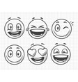hand drawn positive emojis smile sketch vector image vector image