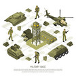 isometric military base flowchart vector image vector image