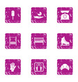 kid moment icons set grunge style vector image