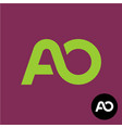 letters ao monogram a and o logo vector image vector image