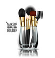makeup brush glass holder cosmetic beauty vector image